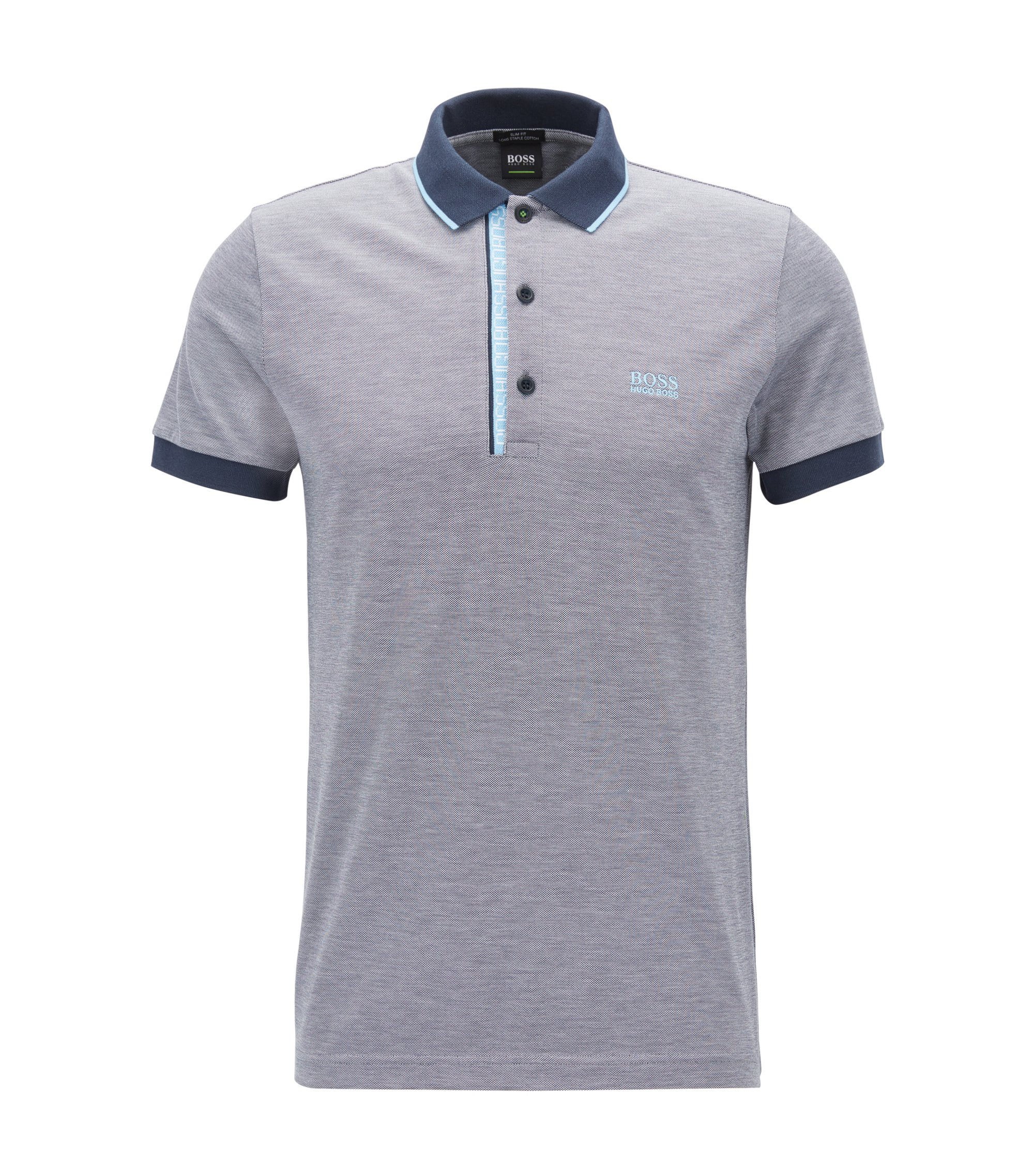 Oxfotd Cotton Polo Shirt, Slim Fit | Paule, Dark Blue