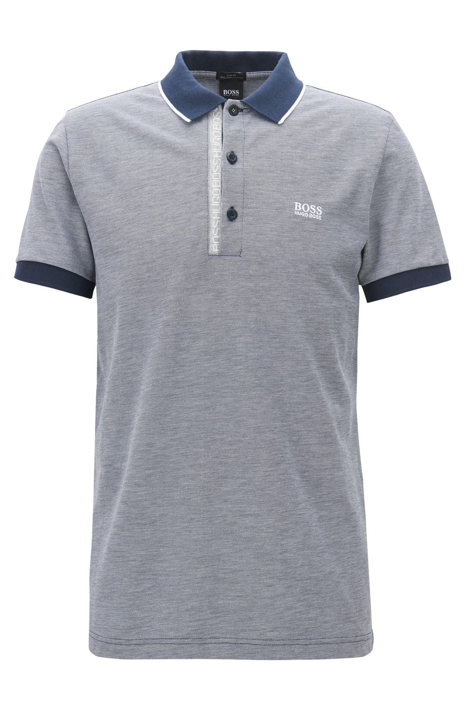 Slim-fit logo polo shirt in cotton piqué, Dark Blue