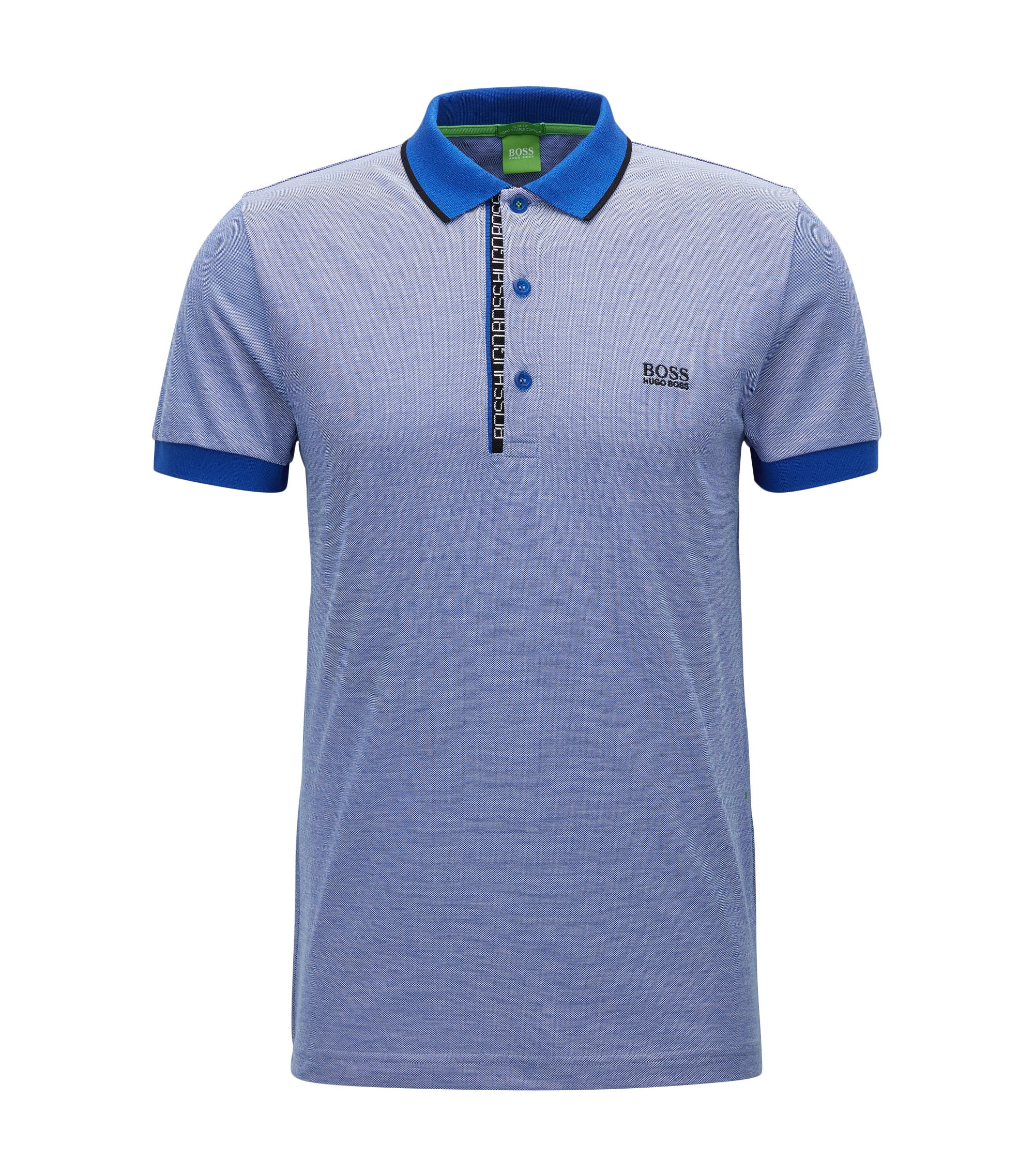 Oxfotd Cotton Polo Shirt, Slim Fit   Paule, Blue