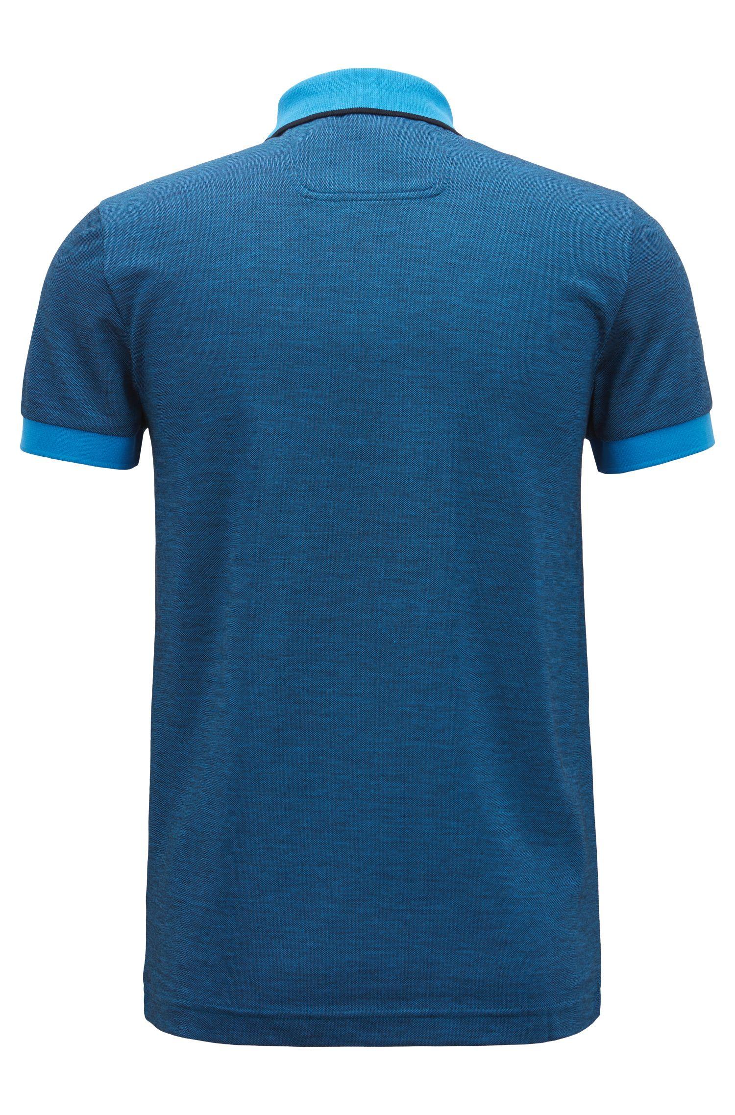 Slim-fit logo polo shirt in cotton piqué, Blue