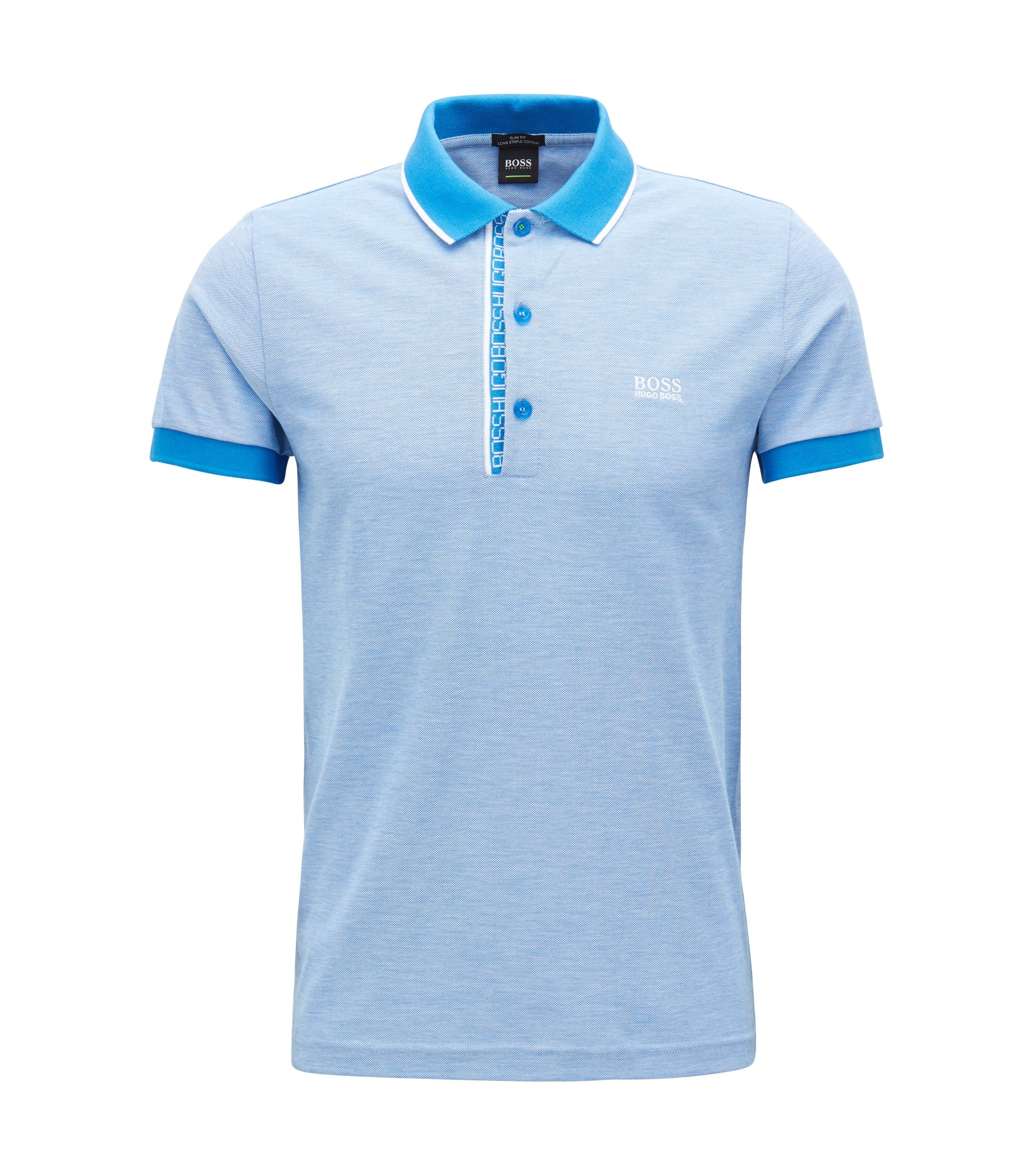 Slim-fit logo polo shirt in cotton piqué, Blue