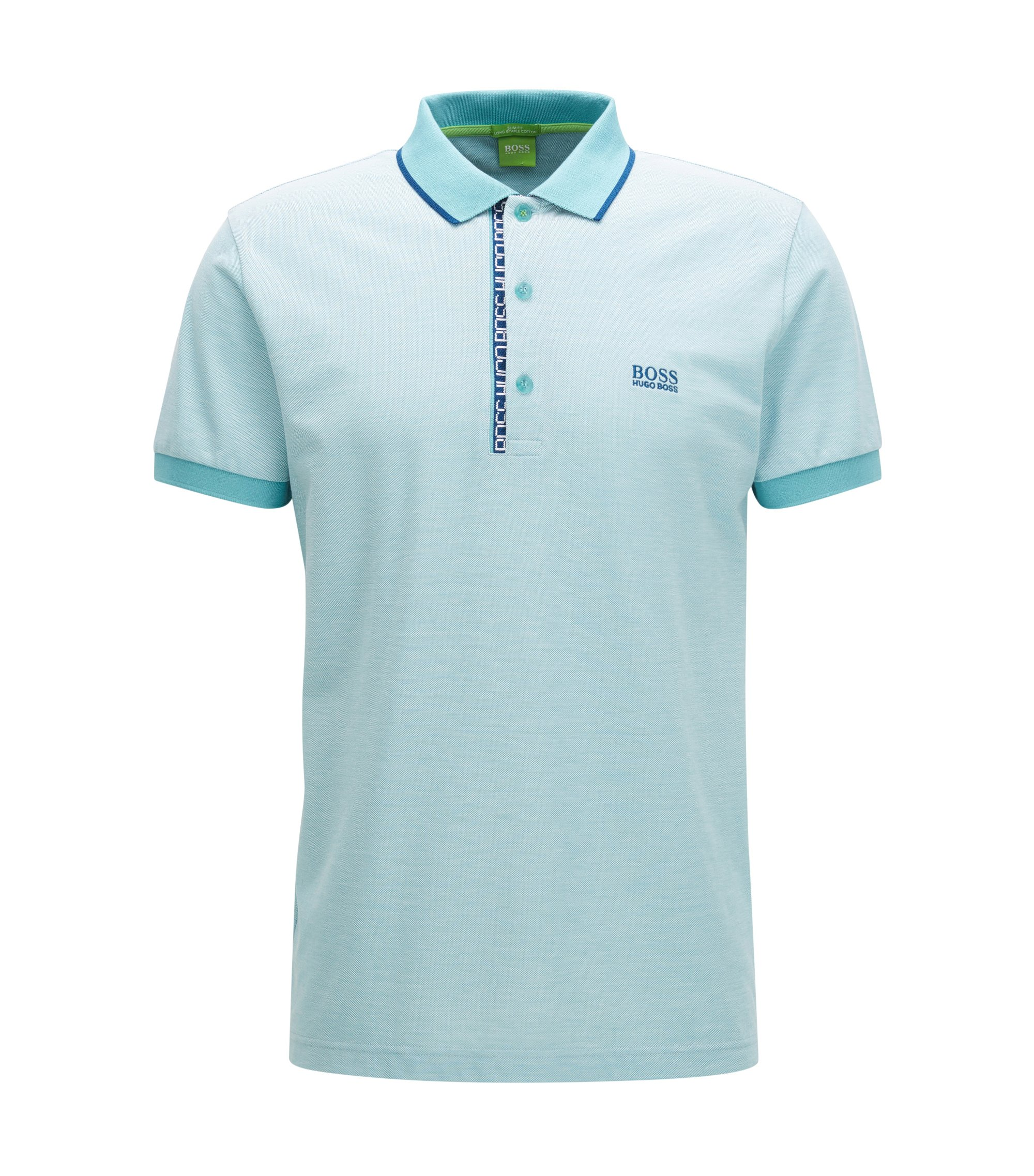 Oxfotd Cotton Polo Shirt, Slim Fit | Paule, Open Blue