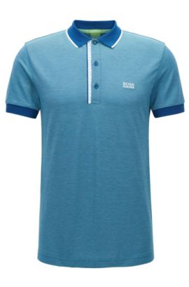 'Paule' | Slim Fit, Oxfotd Cotton Polo Shirt, Open Blue