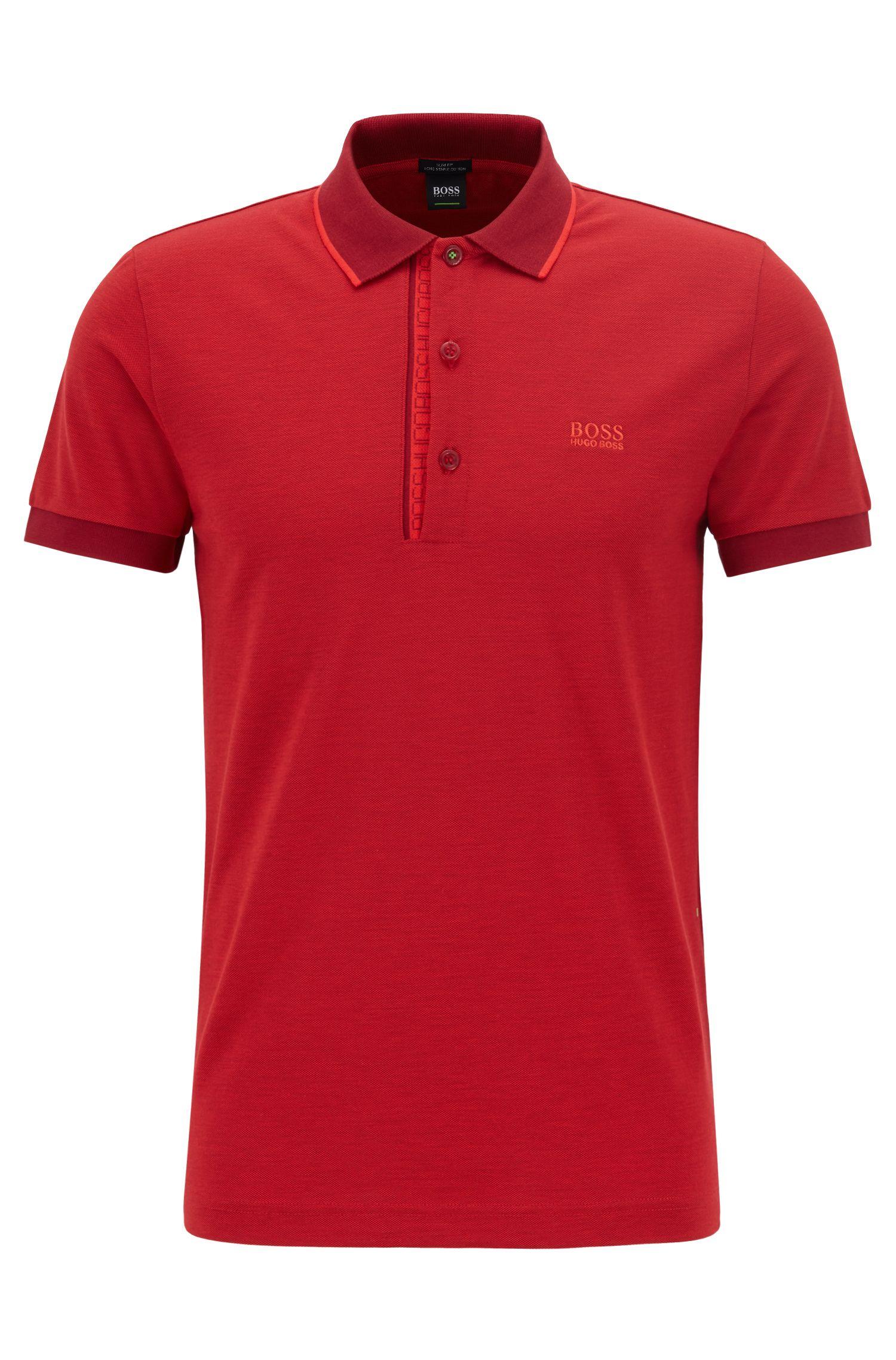 Slim-fit logo polo shirt in cotton piqué, Dark Red