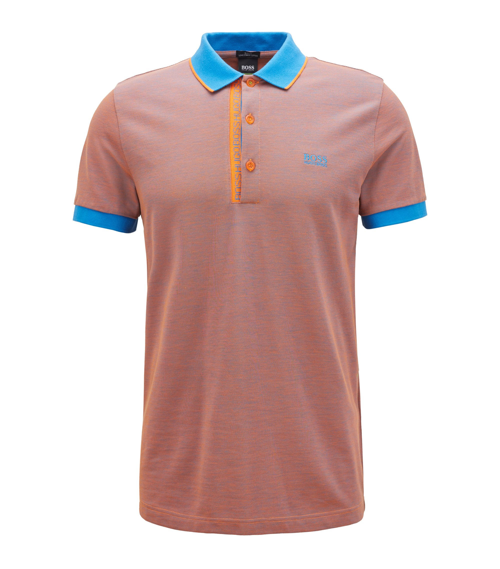 Slim-fit logo polo shirt in cotton piqué, Orange