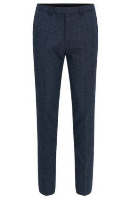 'Hesten' | Extra-Slim Fit, Wool Blend Pants, Dark Blue