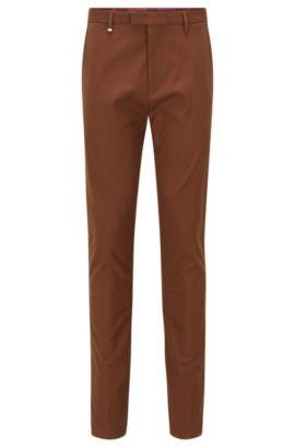 Stretch Wool Blend Pants, Tapered Fit | Helgo, Brown