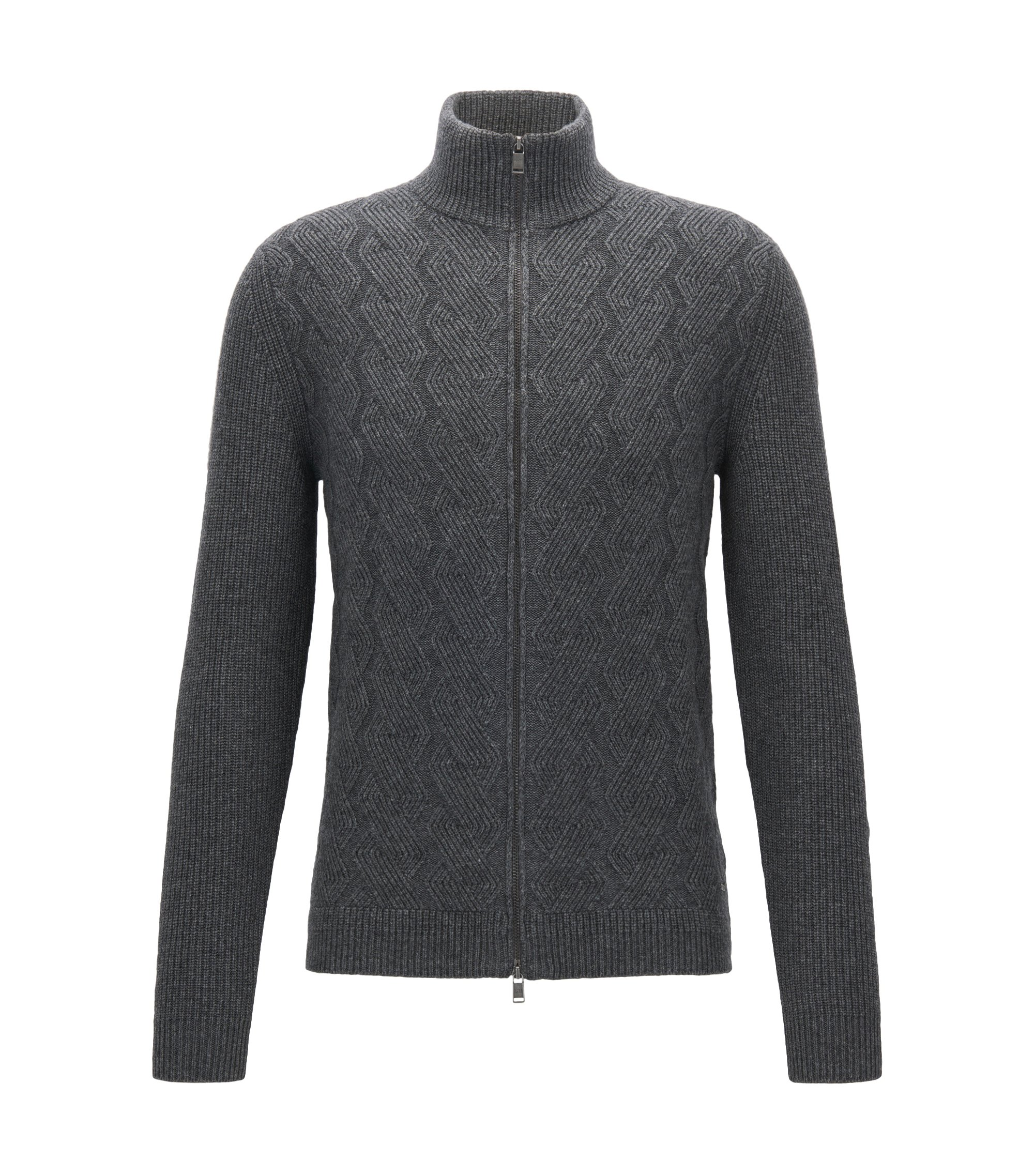 Virgin Wool Luxury Blend Full-Zip Cardigan | Naik, Grey