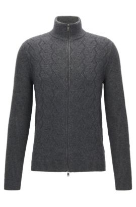 Virgin Wool Luxury Blend Full-Zip Cardigan | Naik, Grey