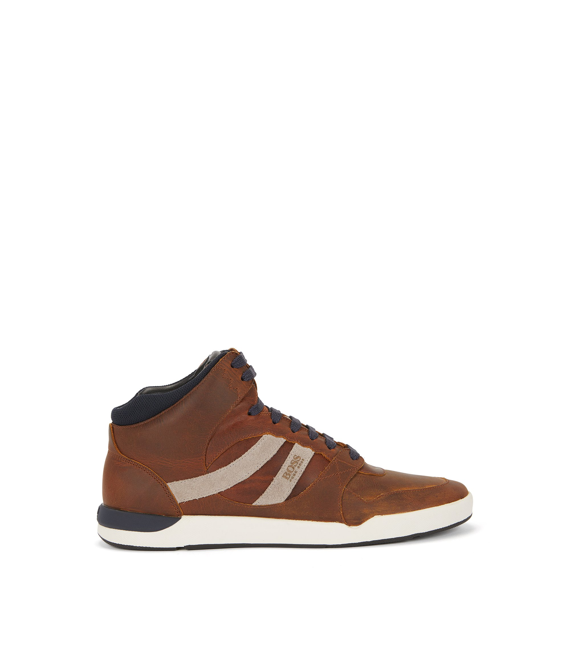 Leather High-Top Sneaker | Stillnes Hito Pp, Brown