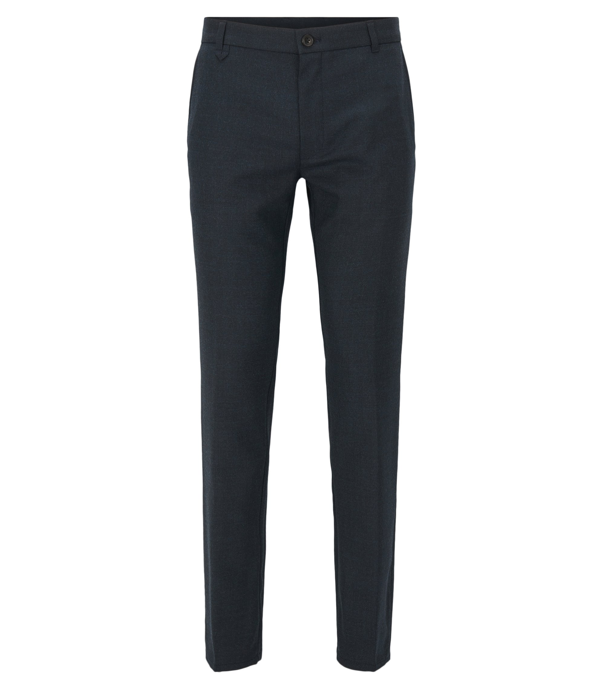 Stretch Virgin Wool Pants, Extra Slim Fit | Heldor, Dark Blue