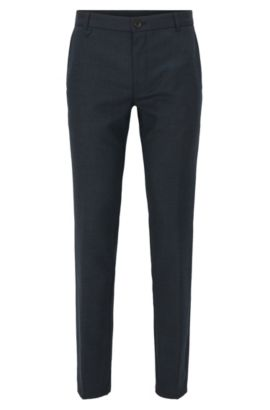 'Heldor' | Extra Slim Fit, Stretch Virgin Wool Pants, Dark Blue