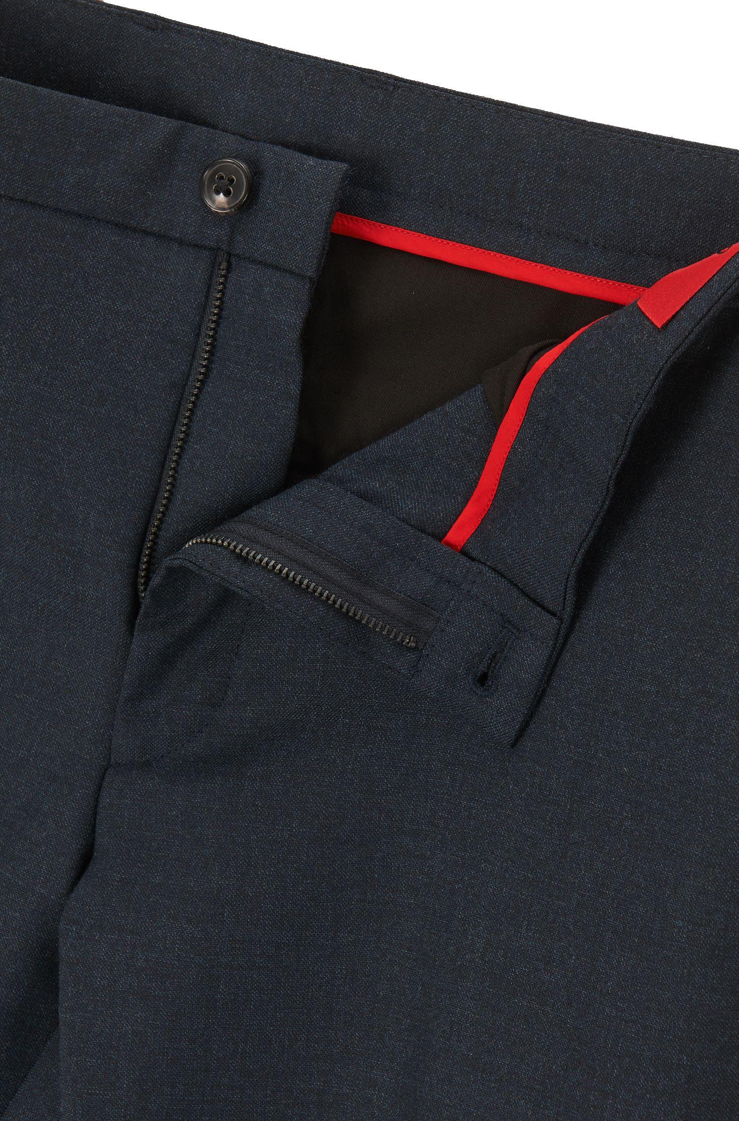 Stretch Virgin Wool Pants, Extra Slim Fit | Heldor, Dark Blue