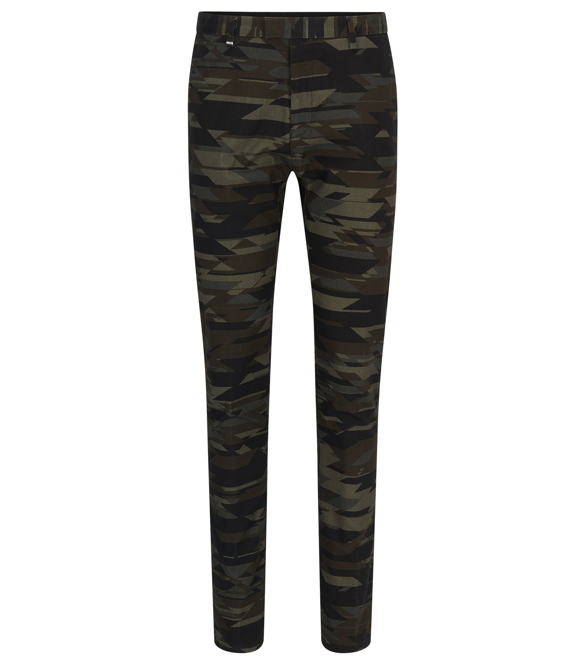 Camo Stretch Cotton Blend Pants, Regular Fit | Helgo, Patterned