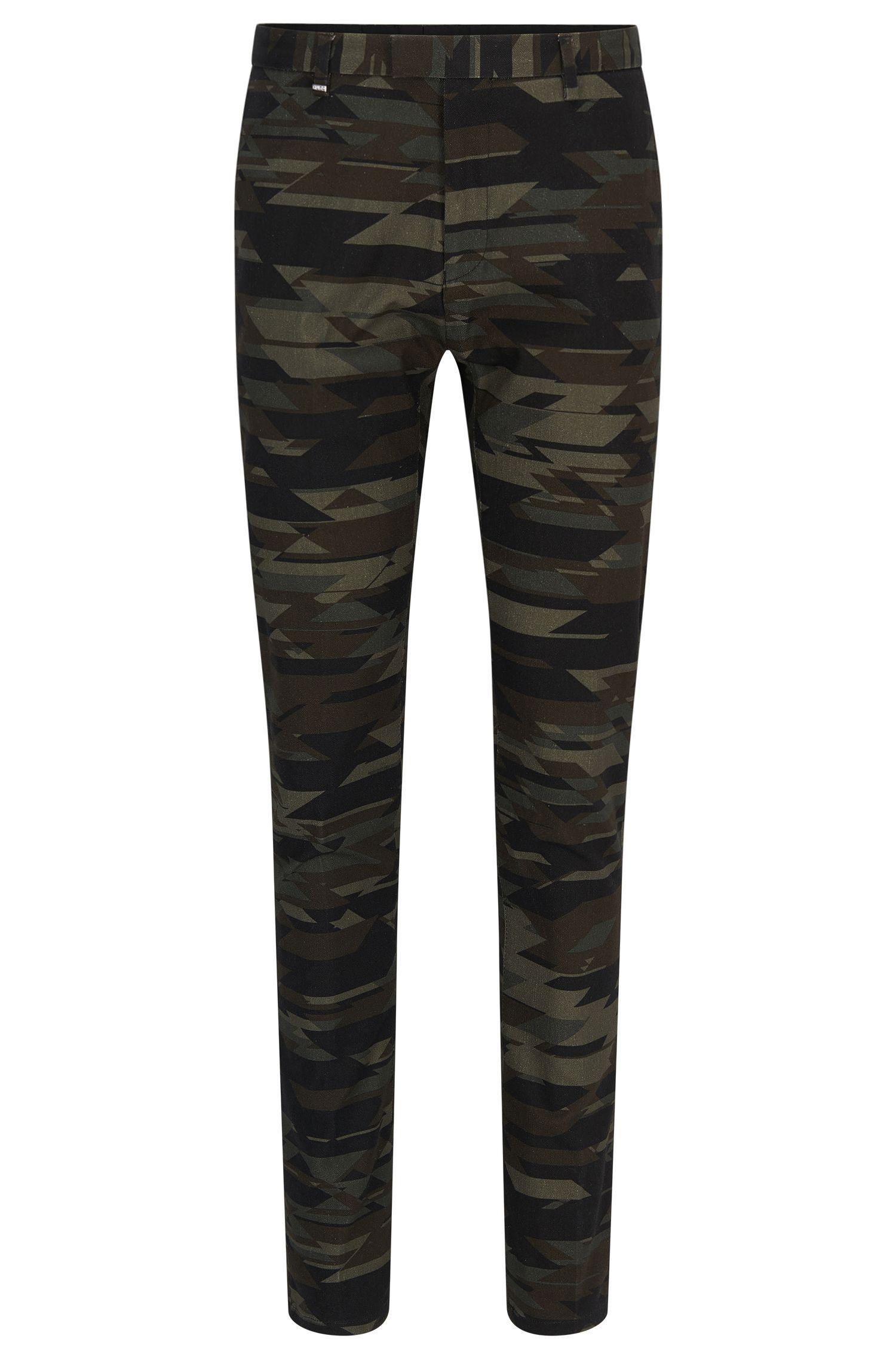 Camo Stretch Cotton Blend Pants, Regular Fit   Helgo