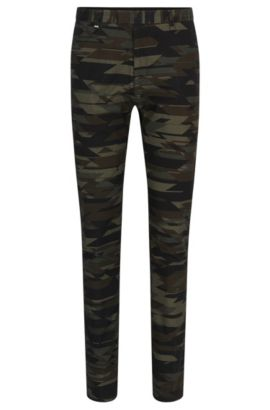 'Helgo' | Regular Fit, Camo Stretch Cotton Blend Pants, Patterned