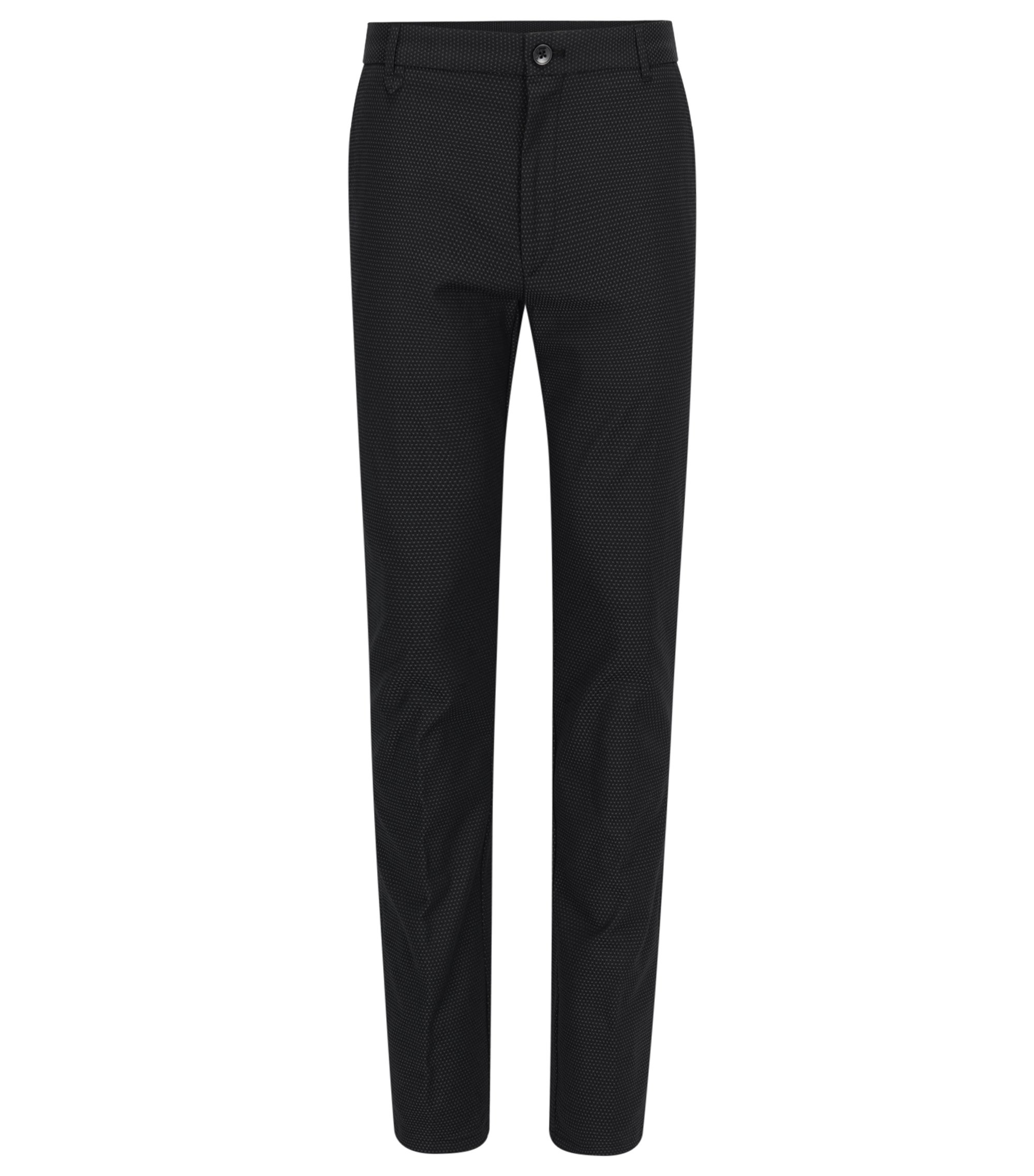Patterned Stretch Cotton Pants, Extra Slim Fit | Heldor, Black