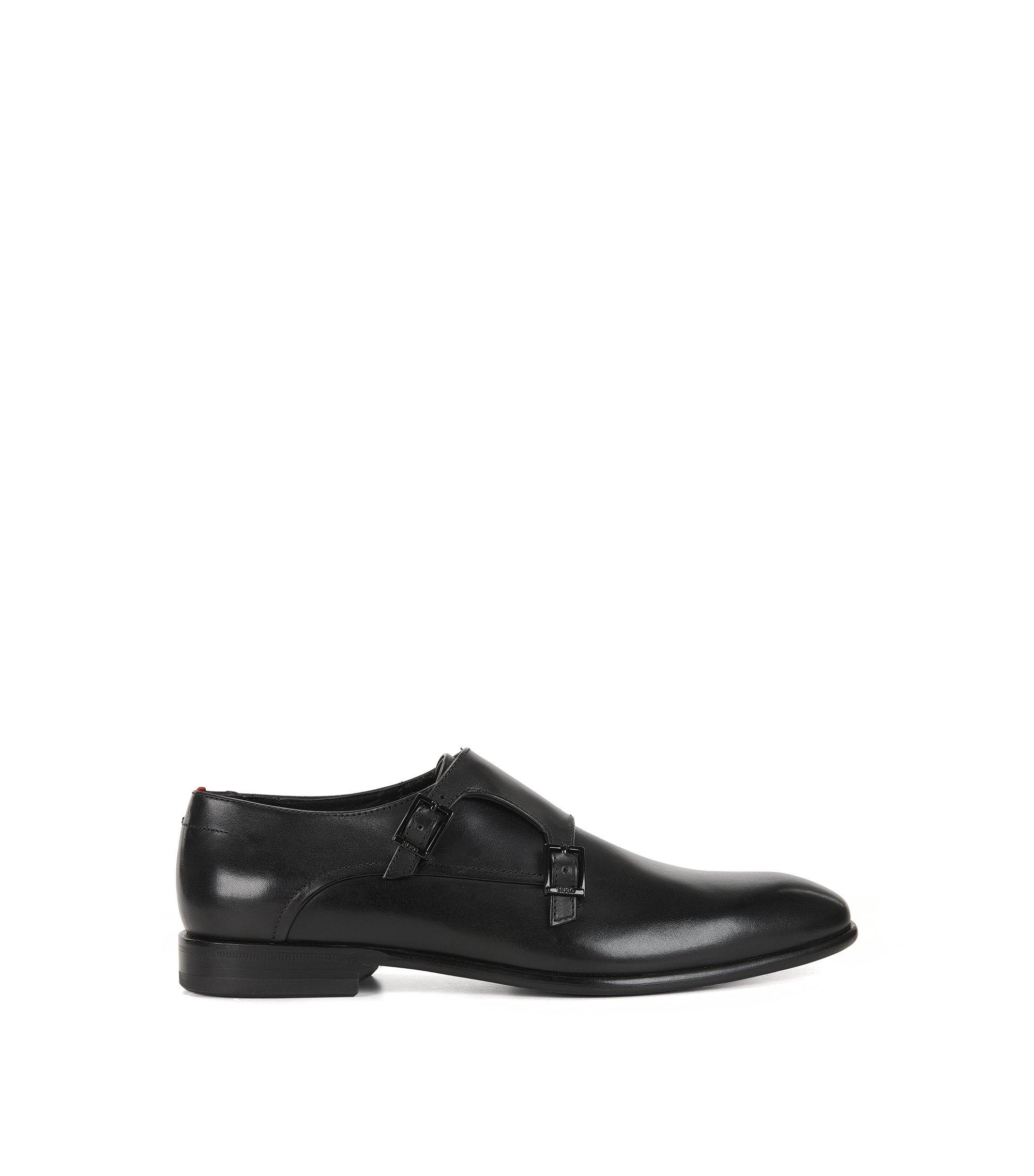 Leather Double Monk Strap Dress Shoe | Dressapp Monk BU, Black