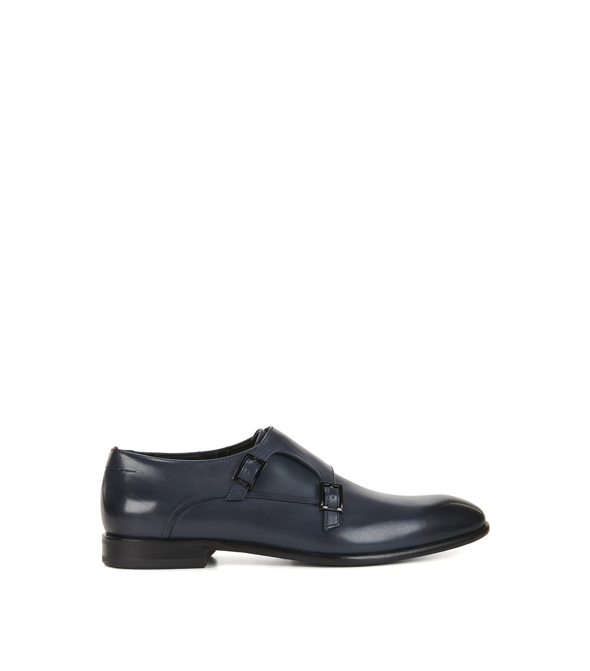Leather Double Monk Strap Dress Shoe | Dressapp Monk BU, Dark Blue