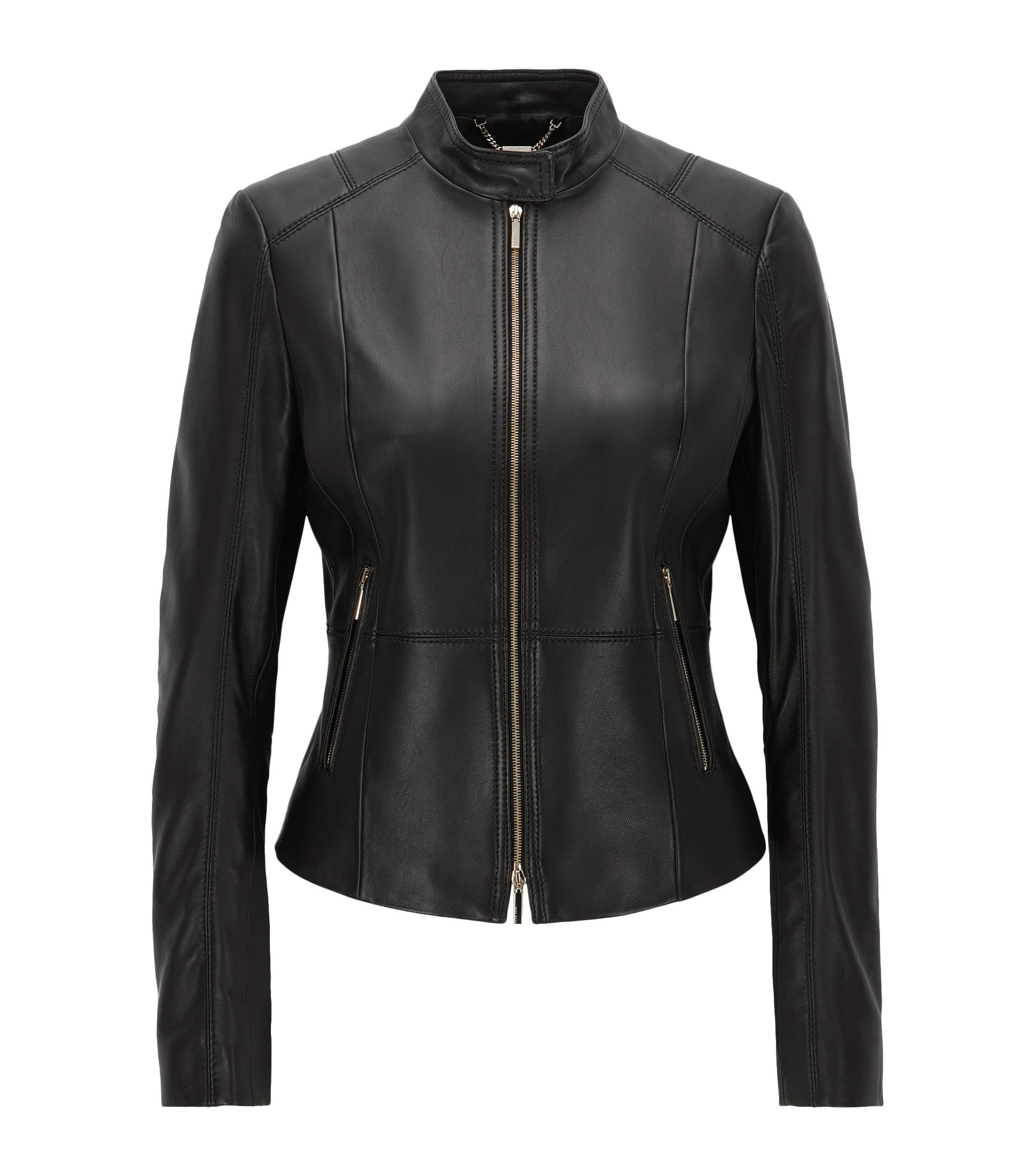Lambskin Leather Jacket | Sammonaie, Black