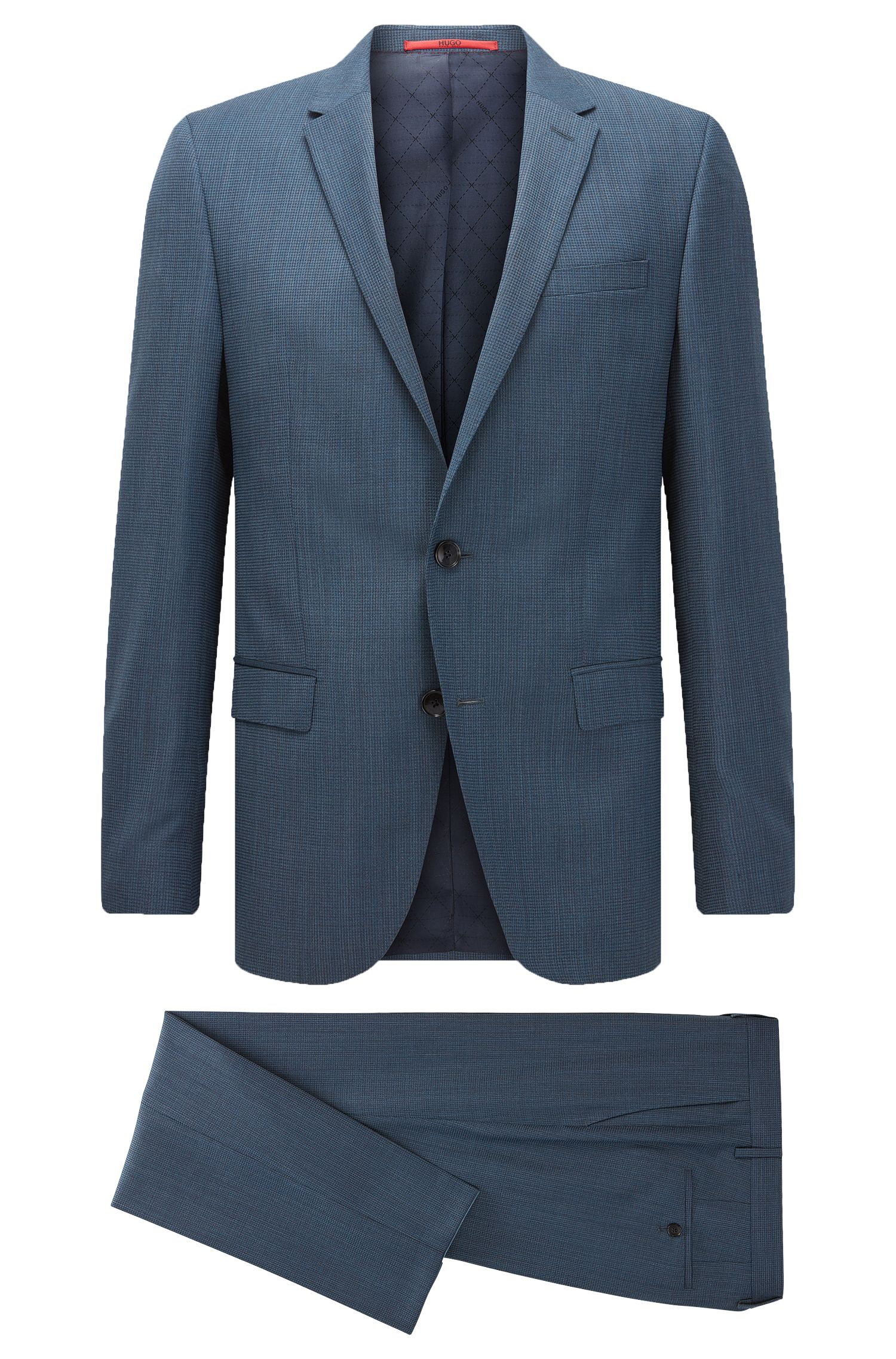 Stretch Virgin Wool Blend Suit, Slim Fit | C-Harvey/C-Getlin, Dark Blue
