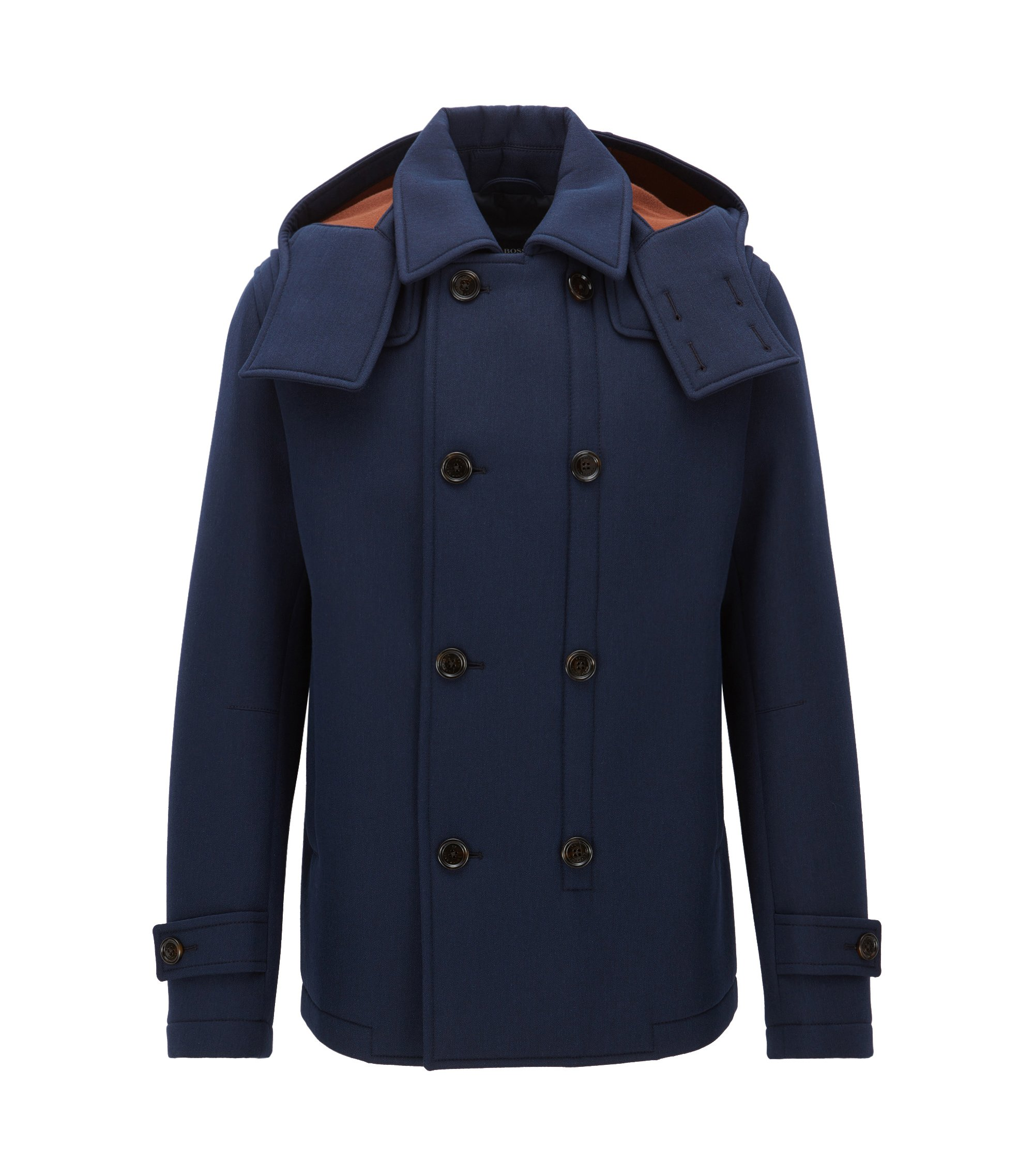 Stretch Virgin Wool Double-Breasted Jacket | Chatham, Dark Blue