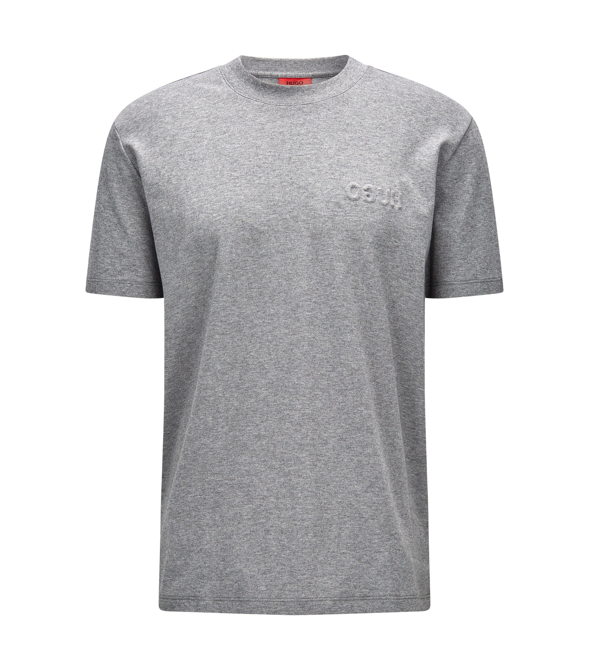Embossed Cotton T-Shirt | Derrif, Open Grey