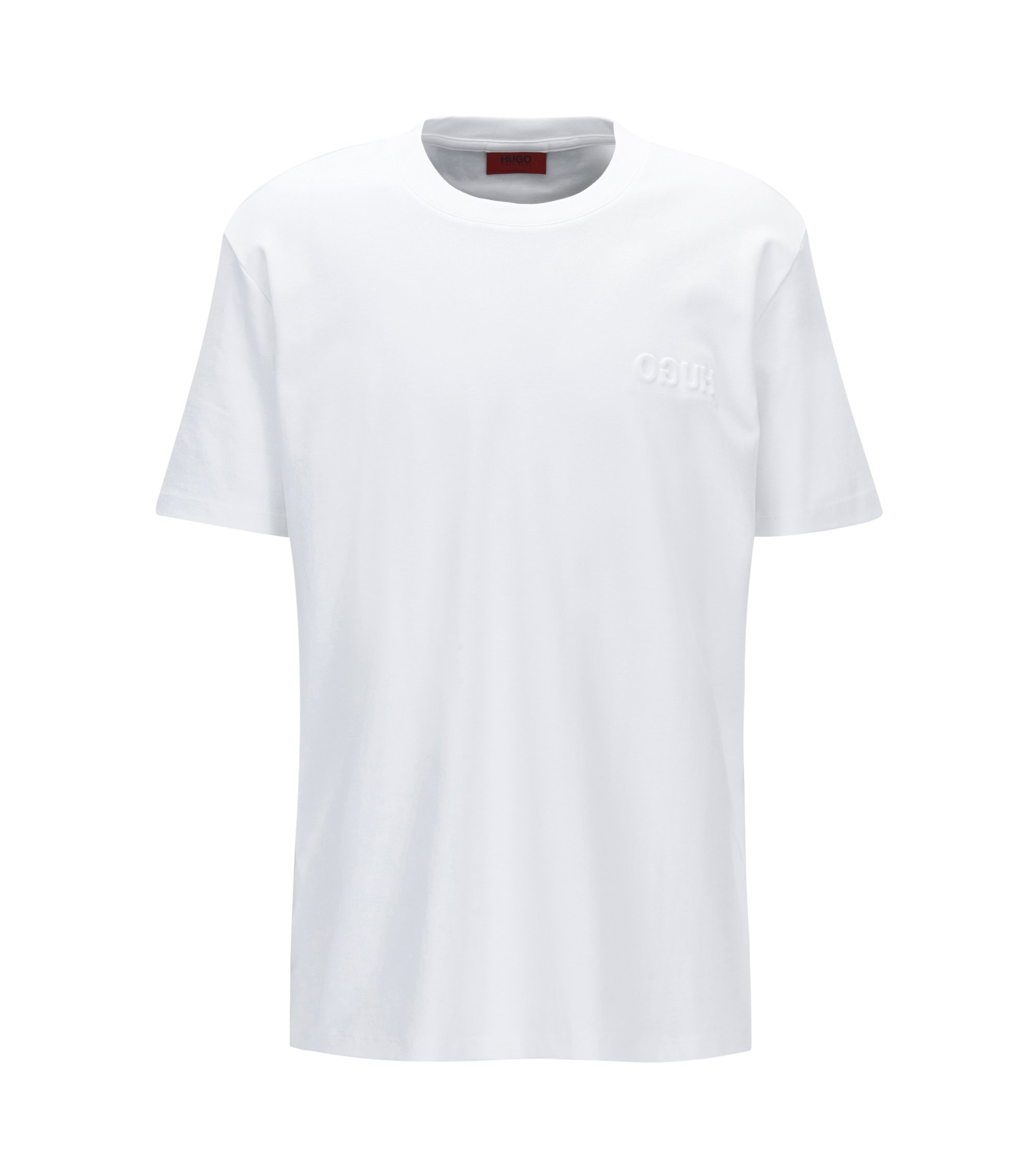 Embossed Cotton T-Shirt | Derrif, White