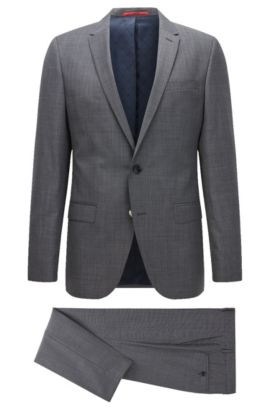 Virgin Wool Blend Suit, Slim Fit | C-Harvey/C-Getlin, Dark Blue