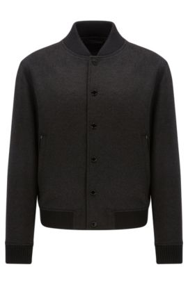 'Coma WS' | Virgin Wool Cashmere Varsity Jacket, Charcoal