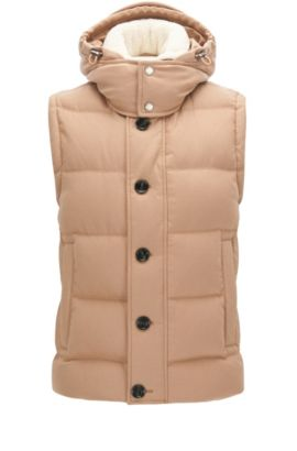 Virgin Wool Cashmere Blend Puffer Vest | T-Denis, Beige