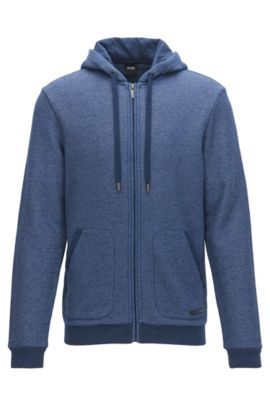 French Terry Hooded Sweatshirt | Jacket Hooded, Dark Blue