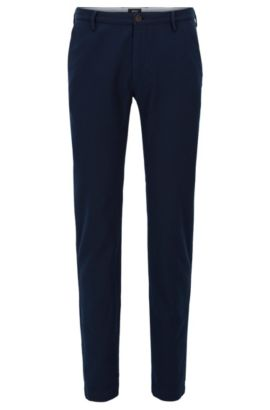 Stretch Cotton Chino Pants, Slim Fit | Rice W, Dark Blue