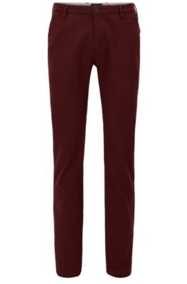Stretch Cotton Chino Pants, Slim Fit | Rice W, Dark Red