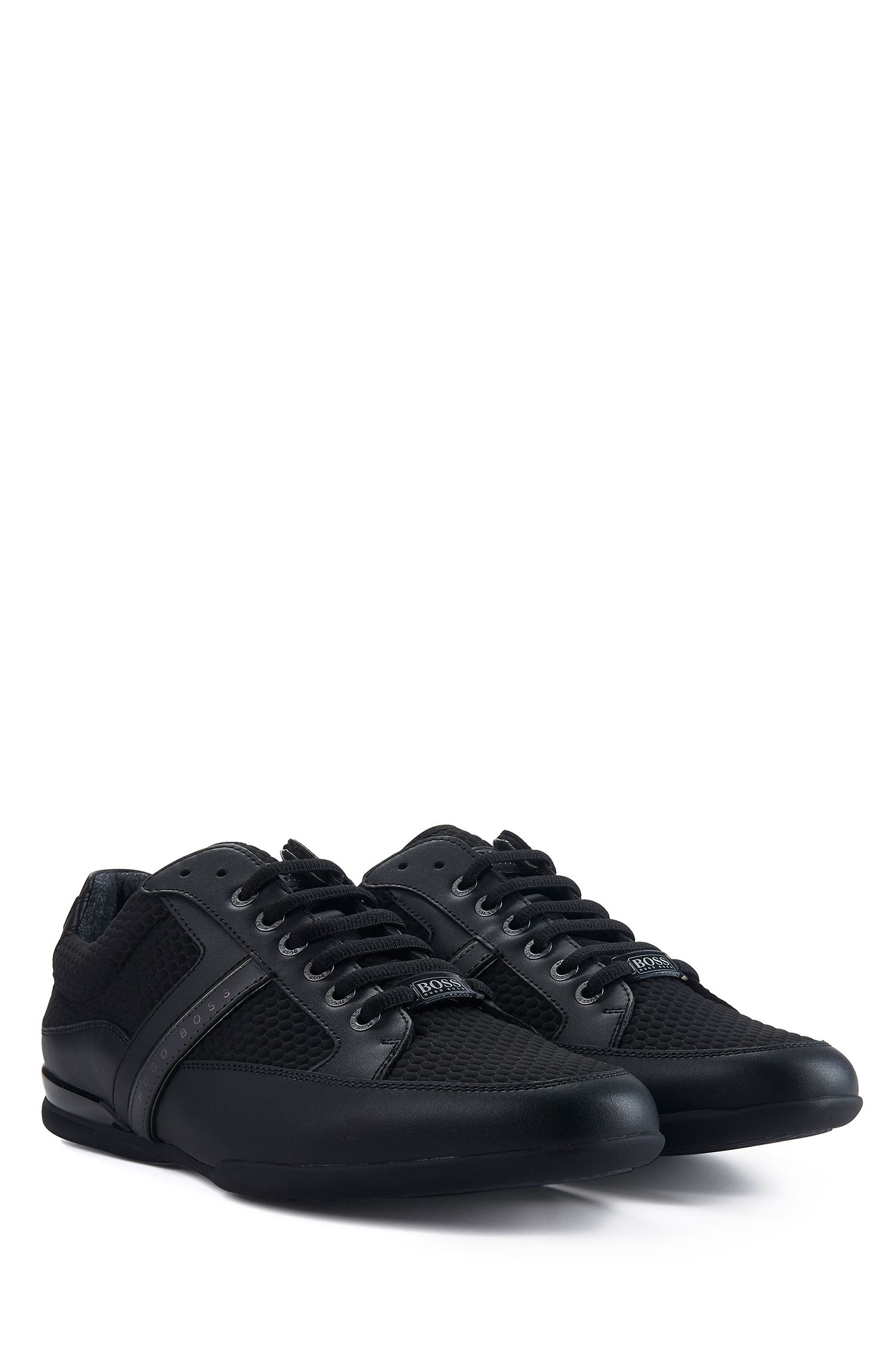 Mesh Leather Sneaker | Space Lowp Nyme, Black
