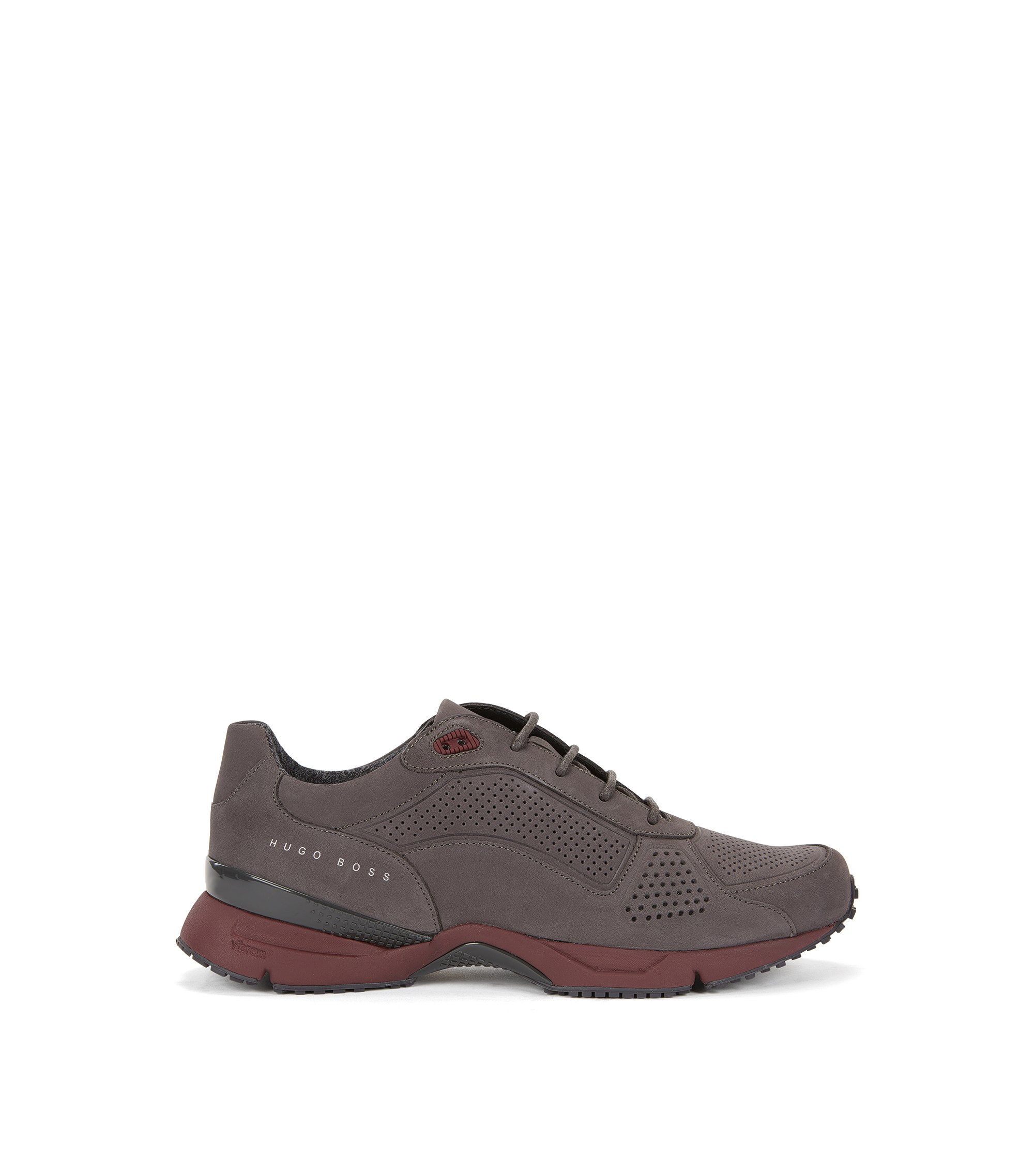 Perforated Suede Sneaker | Velocity Runn Nupf, Dark Grey