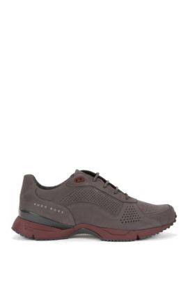 Perforated Suede Sneaker | Velocity Runn Nupf, Dark Grey