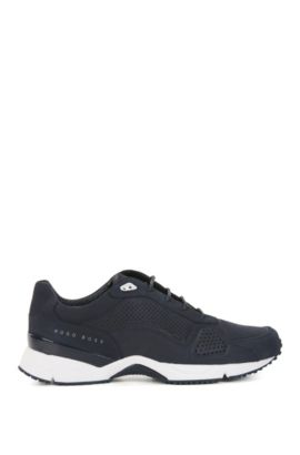 Perforated Suede Sneaker | Velocity Runn Nupf, Dark Blue