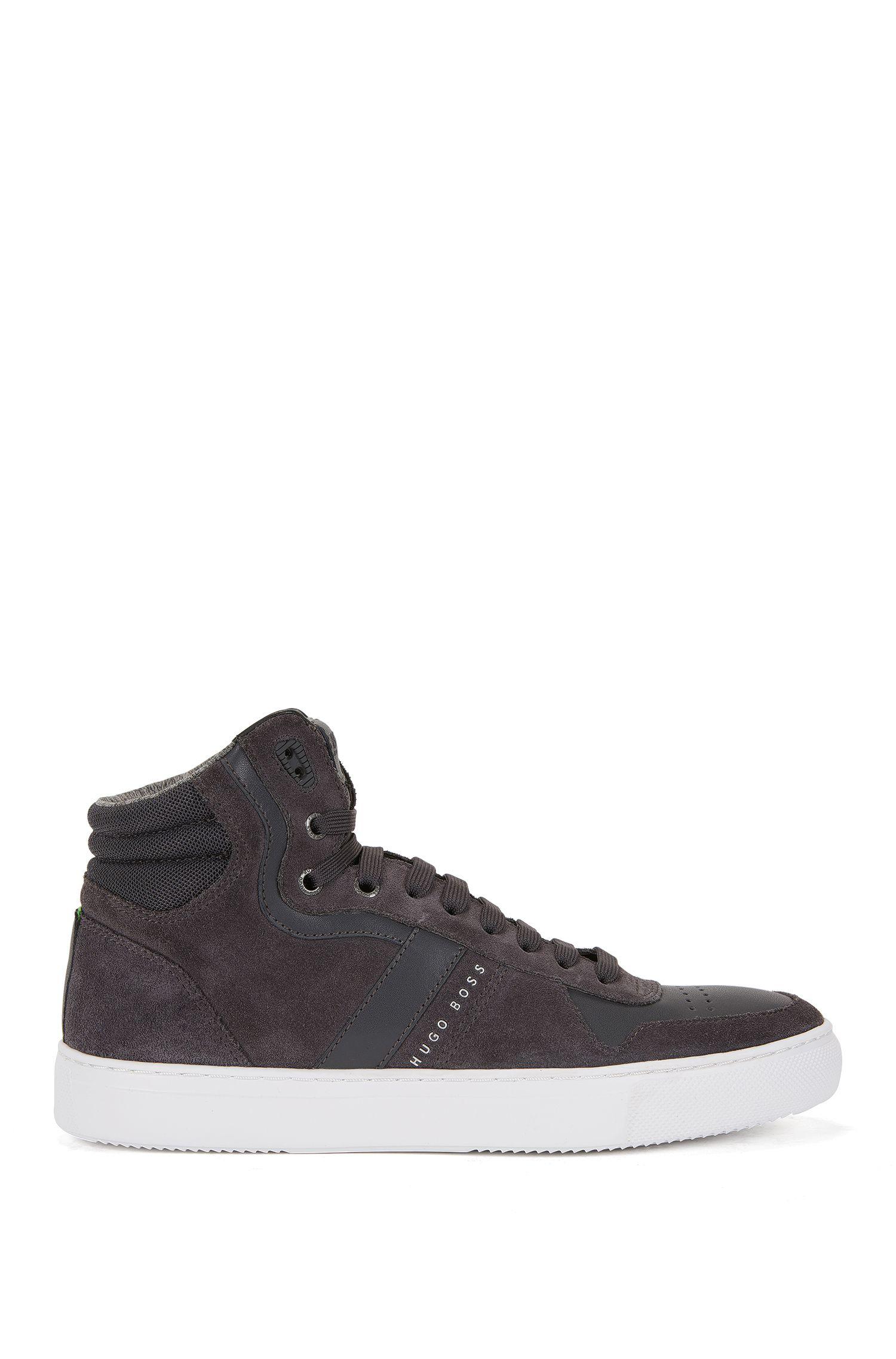 Leather & Suede High Top Sneaker | Enlight Hito Sdmx, Dark Grey