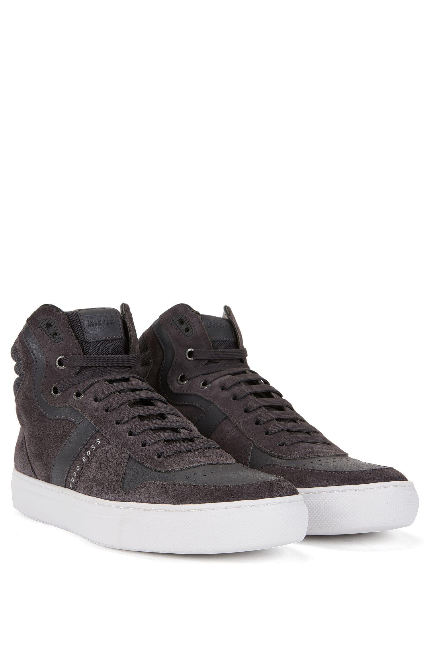 Leather & Suede High Top Sneaker   Enlight Hito Sdmx, Dark Grey