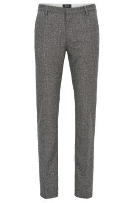 'Rice W' | Slim Fit, Virgin Wool Blend Pants, Open Grey
