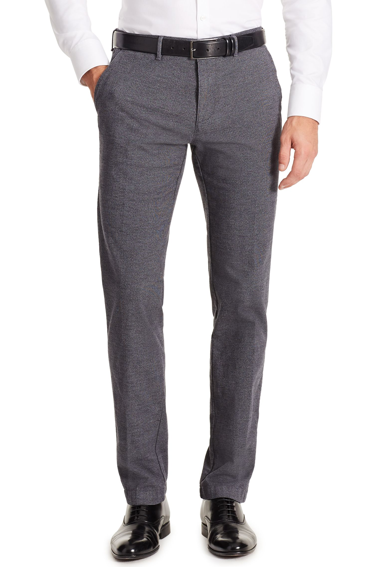 Patterned Stretch Cotton Pant, Regular Fit | Crigan W, Open Grey