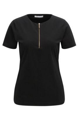 'Ezipa' | Stretch Cotton Jersey Top, Black