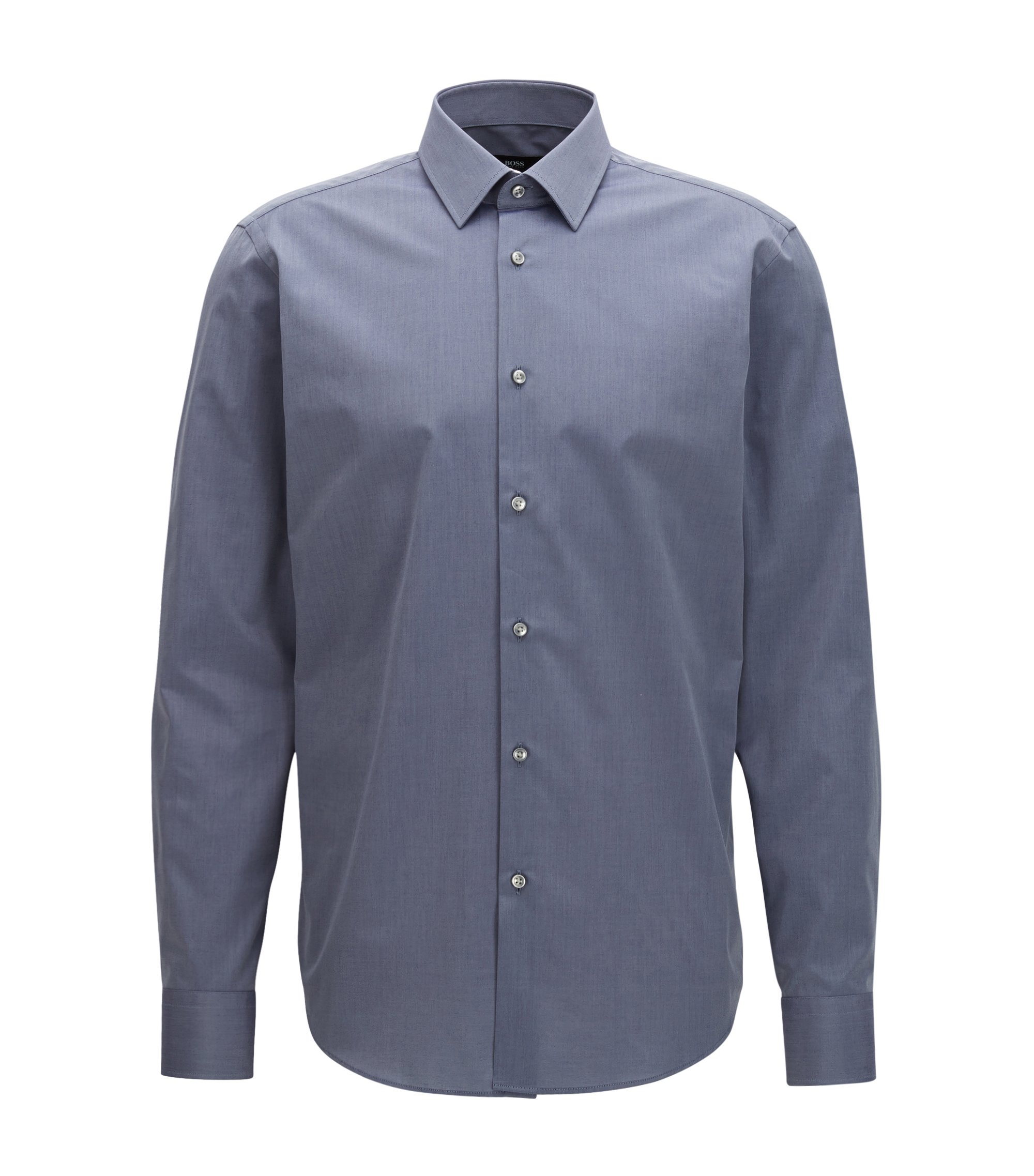 Chambray Cotton Dress Shirt, Regular Fit | Enzo, Dark Grey