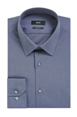 'Enzo' | Regular Fit, Chambray Cotton Dress Shirt, Dark Grey