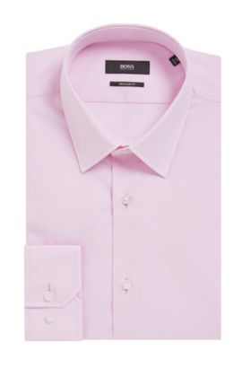 'Enzo' | Regular Fit, Chambray Cotton Dress Shirt, Open Pink