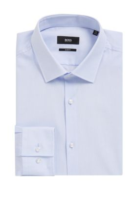 'Jenno' | Slim Fit, Chambray Cotton Dress Shirt, Light Blue