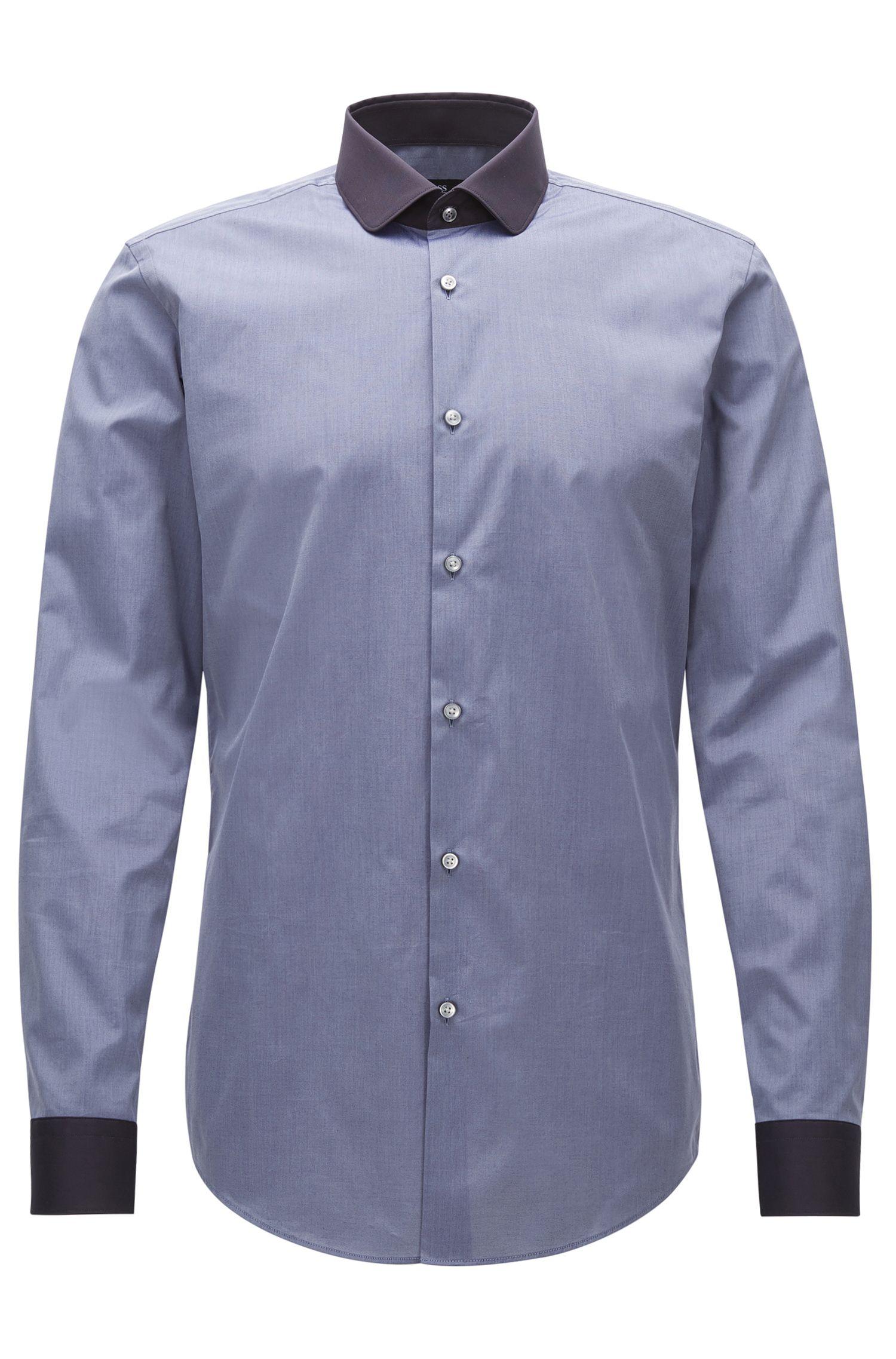 Contrast Easy Iron Cotton Dress Shirt, Slim Fit   Joshy