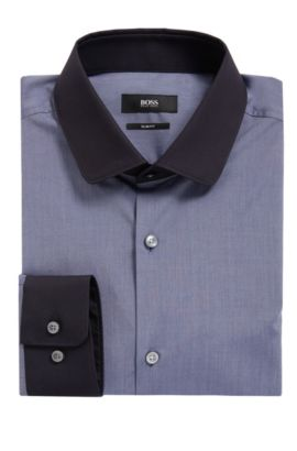 Contrast Easy Iron Cotton Dress Shirt, Slim Fit   Joshy, Dark Grey
