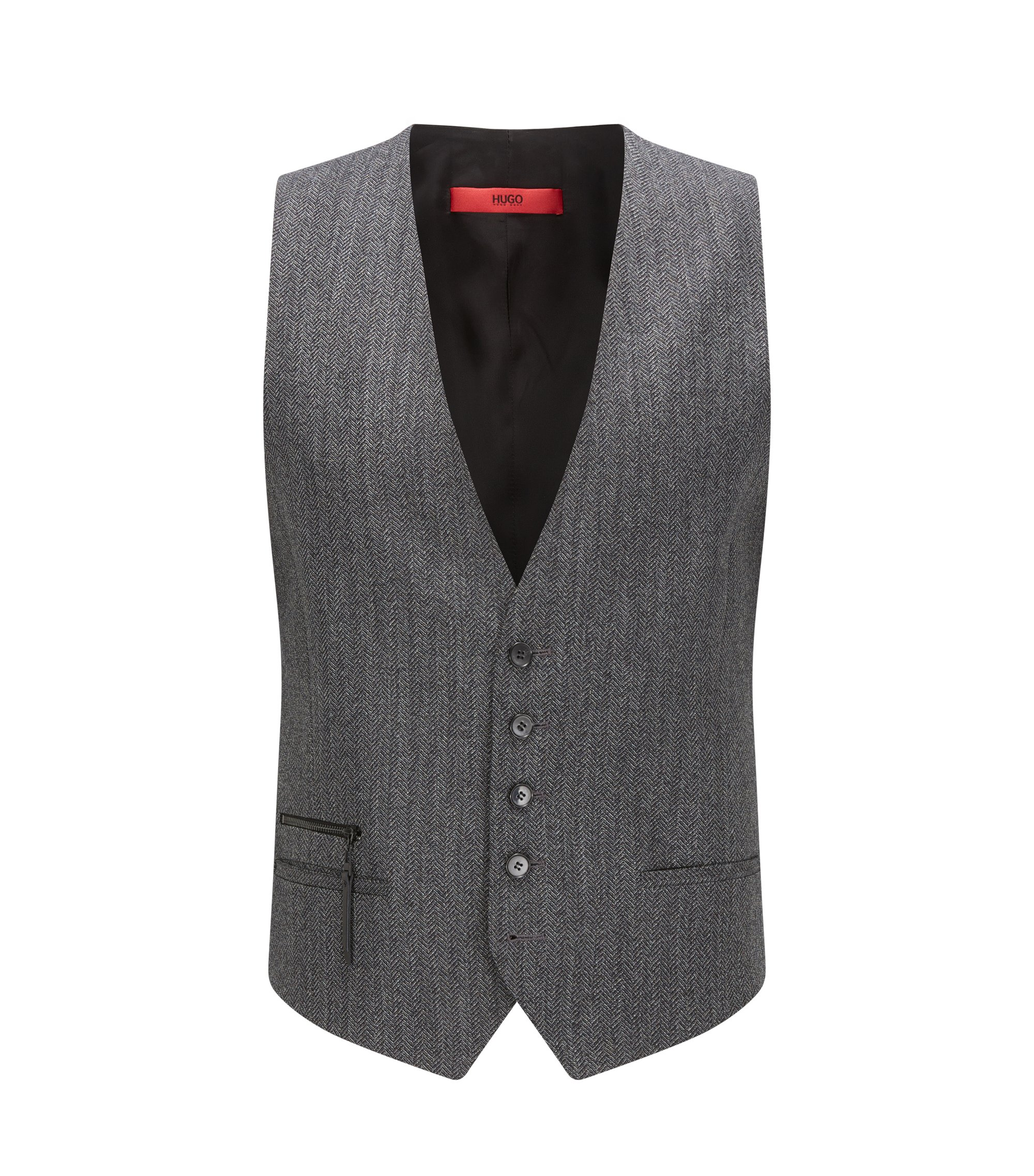 Herringbone Vest, Extra Slim Fit | Wilardo, Charcoal